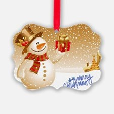 Merry Christmas Snowman Ornament