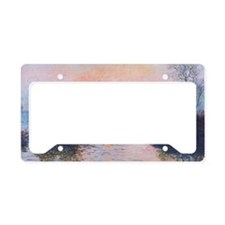 Sunset on the Seine at Lavaco License Plate Holder