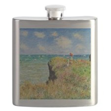 Clifftop Walk at Pourville by Claude Monet Flask