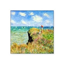 "Clifftop Walk at Pourville  Square Sticker 3"" x 3"""