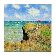 Clifftop Walk at Pourville by Claude  Tile Coaster