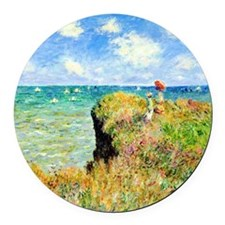Clifftop Walk at Pourville by Cla Round Car Magnet