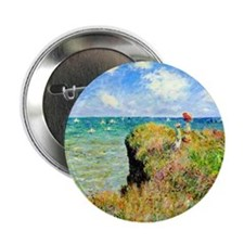 """Clifftop Walk at Pourville by Claude  2.25"""" Button"""
