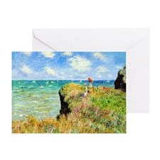 Clifftop Walk at Pourville by Claude Greeting Card