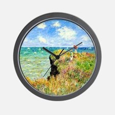 Clifftop Walk at Pourville by Claude Mo Wall Clock