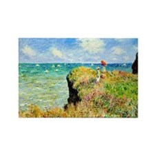 Clifftop Walk at Pourville by Cla Rectangle Magnet