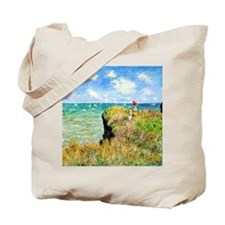 Clifftop Walk at Pourville by Claude Mone Tote Bag