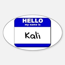 hello my name is kali Oval Decal
