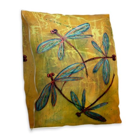 Throw Pillow With Dragonfly : Dragonfly Haze Burlap Throw Pillow by LyndseyArt