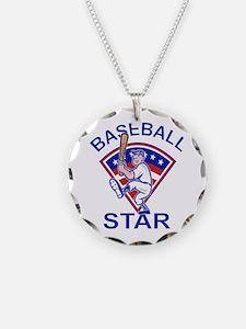 Cute Baseball Star Design Necklace