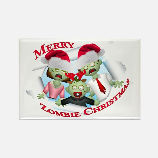 Merry Zombie Family Christmas Rectangle Magnet