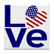 Blue USA LOVE Tile Coaster