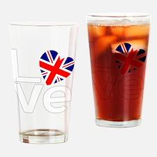 White British LOVE Drinking Glass