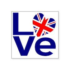 """Blue British LOVE Square Sticker 3"""" x 3"""""""