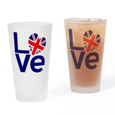 Blue British LOVE Drinking Glass