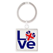 Blue British LOVE Square Keychain