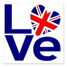"Blue British LOVE Square Car Magnet 3"" x 3"""