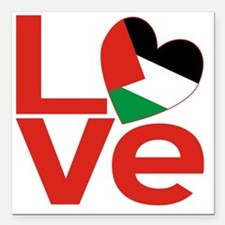 """Red Palestinian LOVE Square Car Magnet 3"""" x 3"""""""
