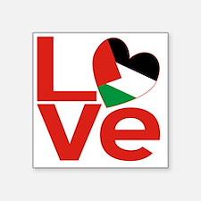 "Red Palestinian LOVE Square Sticker 3"" x 3"""