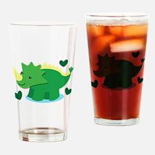 Cute green Dinosaur Drinking Glass