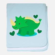 Cute green Dinosaur baby blanket