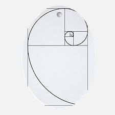 Golden Spiral Fibonacci Black Oval Ornament