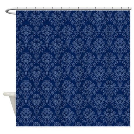 Dark Blue Retro Floral Shower Curtain By Stircrazy