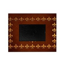 Old Leather with gold Fleur-de-Lys Picture Frame