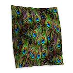 Peacock Feathers Invasion Burlap Throw Pillow