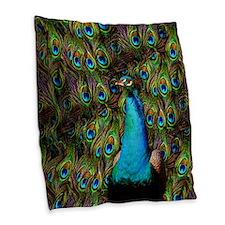 Peacock Watch! Burlap Throw Pillow