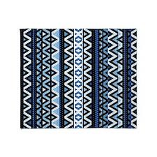 Blue Tribal Mix, Throw Blanket