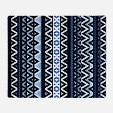 Blue Tribal Mix, Throw Blanket