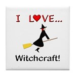 I Love Witchcraft Tile Coaster