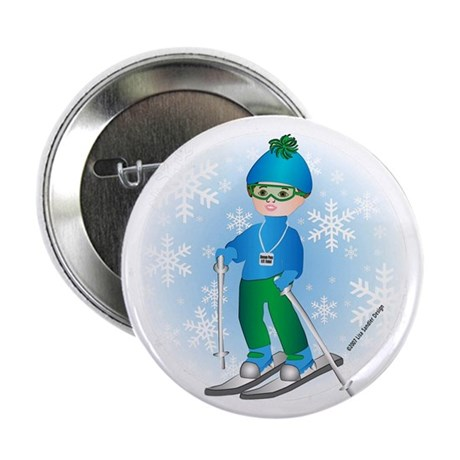 Ski Boy (brunette) Button