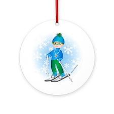Ski Boy (brunette) Ornament (Round)
