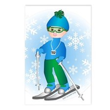 Ski Boy (brunette) Postcards (Package of 8)
