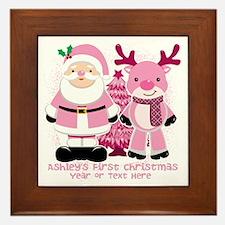 Personalize Pink Santa And Reindeer Framed Tile