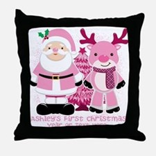 Personalize Pink Santa and Reindeer Throw Pillow