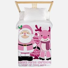 Personalize Pink Santa and Reindeer Twin Duvet