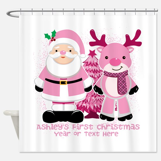 Personalize Pink Santa and Reindeer Shower Curtain