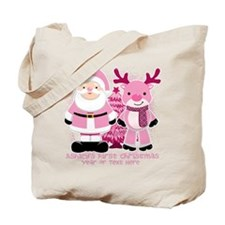 Personalize Pink Santa and Reindeer Tote Bag