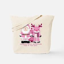 Personalize Pink Santa and Reindeer Tote Bag