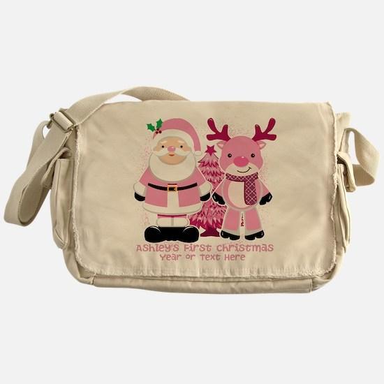 Personalize Pink Santa and Reindeer Messenger Bag