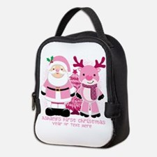 Personalize Pink Santa And Reindeer Neoprene Lunch