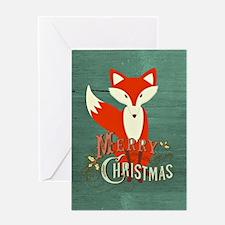 Teal Christmas Fox Greeting Card
