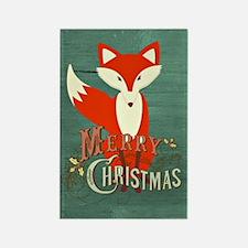 Teal Christmas Fox Rectangle Magnet