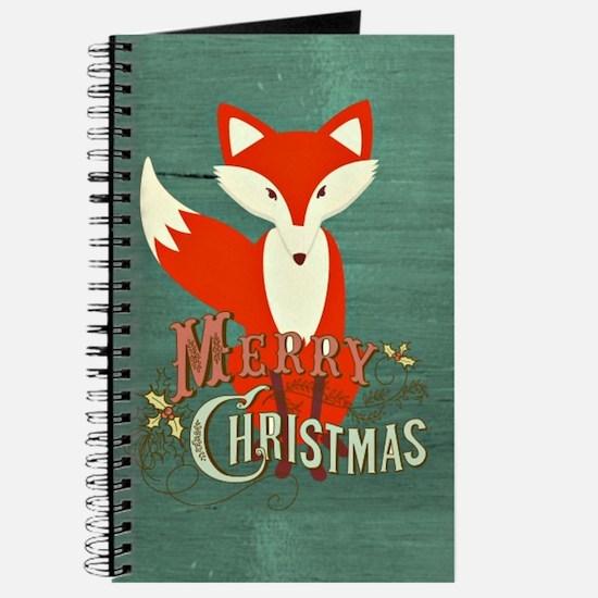 Teal Christmas Fox Journal