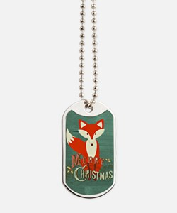 Teal Christmas Fox Dog Tags