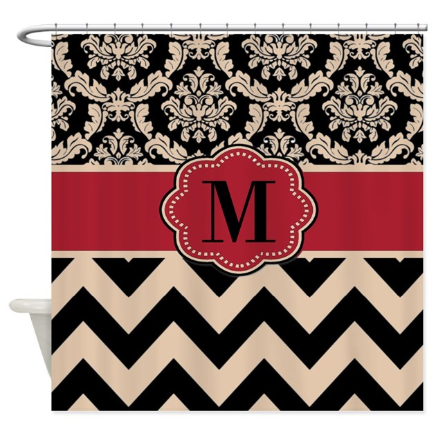 Red Tan Damask Chevron Shower Curtain By