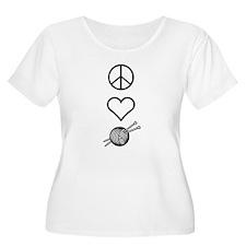 Peace Love Knit Women's Plus Size Scoop T